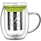 Tealyra - Venus Glass Cup Infuser - Double Wall Glass Tea Cup with Lid and Stainless Steel Infuser Basket - Perfect Tea Mug for Office and Home Uses for Loose Leaf Tea Steeping - 13.5-ounce