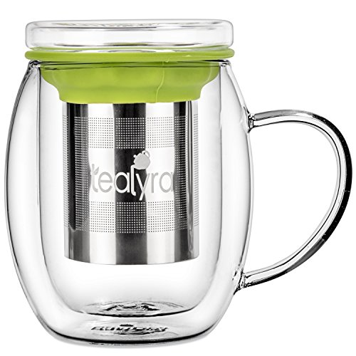 Tealyra - Venus 400ml - Tea Cup Infuser - Double Wall Glass Tea Cup with Lid and Stainless Steel Infuser Basket - Perfect Tea Mug for Office and Home Uses for Loose Leaf Tea Steeping - 13.5-ounce (Leaf Loose Teacup)