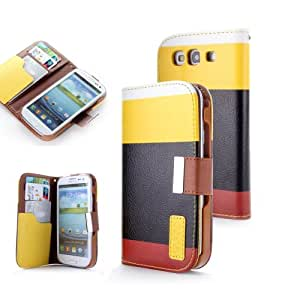 Candywe Wallet Style Colorful Leather Flip Stand Case with Credit Card / ID Slots for Samsung Galaxy S3 III i9300 Yellow/Black/Red