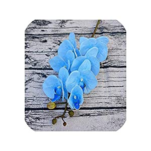 loveinfinite 5Pcs Artificial Flowers Real Touch Moth Orchid Butterfly Orchid for New House Home Wedding Festival Decoration Party Hotel,Blue 41