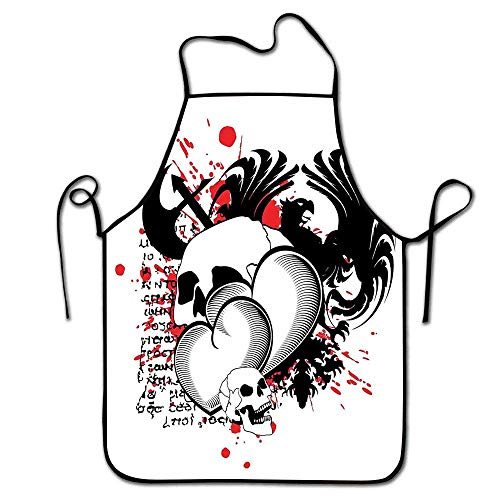 Tattoo Apron Artist Conjoined Hearts with Skull Eagle Wings Symbol of The Brave Love Print Apron Sleepy Black White and Red