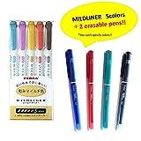 Zebra MILDLINER WKT7-5C-RC(5-Color Set) + Delat Erasable Gel Ink Ballpoint Pen 0.5mm 2 random colors (Black,Red, Blue or Green)