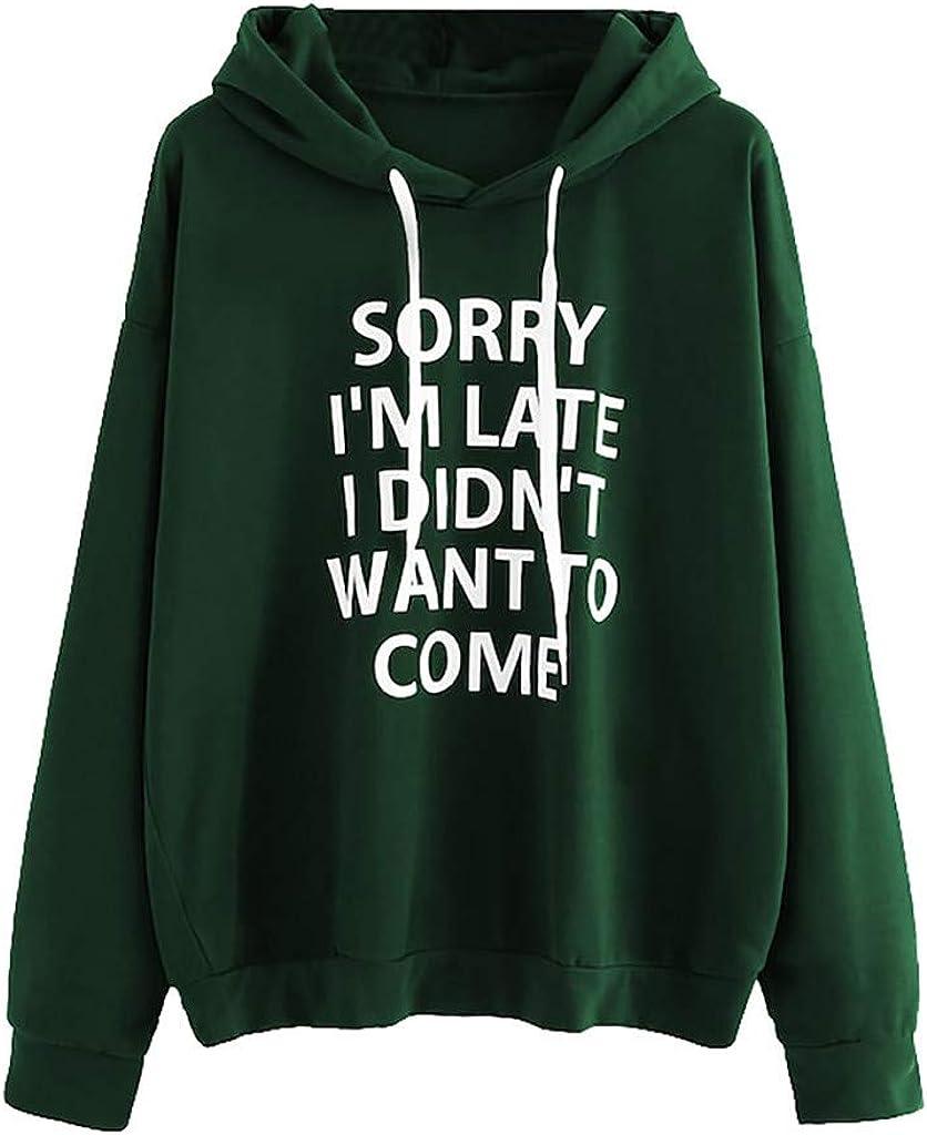 Hunauoo Women Letter Print Sweatshirt Casual Long Sleeve O-Neck Hoodie Jumper Pullover Tops