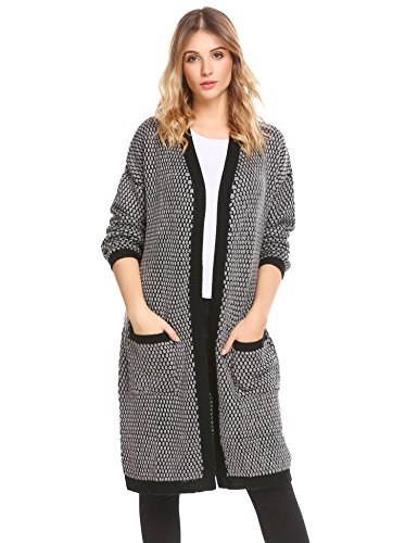 Soteer Womens Long Sleeve Open Front Thick Sweater Cardigan Long Knit Coat With Pockets, Black and Grey, Large