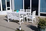 Cheap Vifah Bradley 6 Piece White Hardwood Cross Hatch Slat Back Dining Set with Sturdy Rectangle Table, 4′ Bench and 4 Arm Chairs