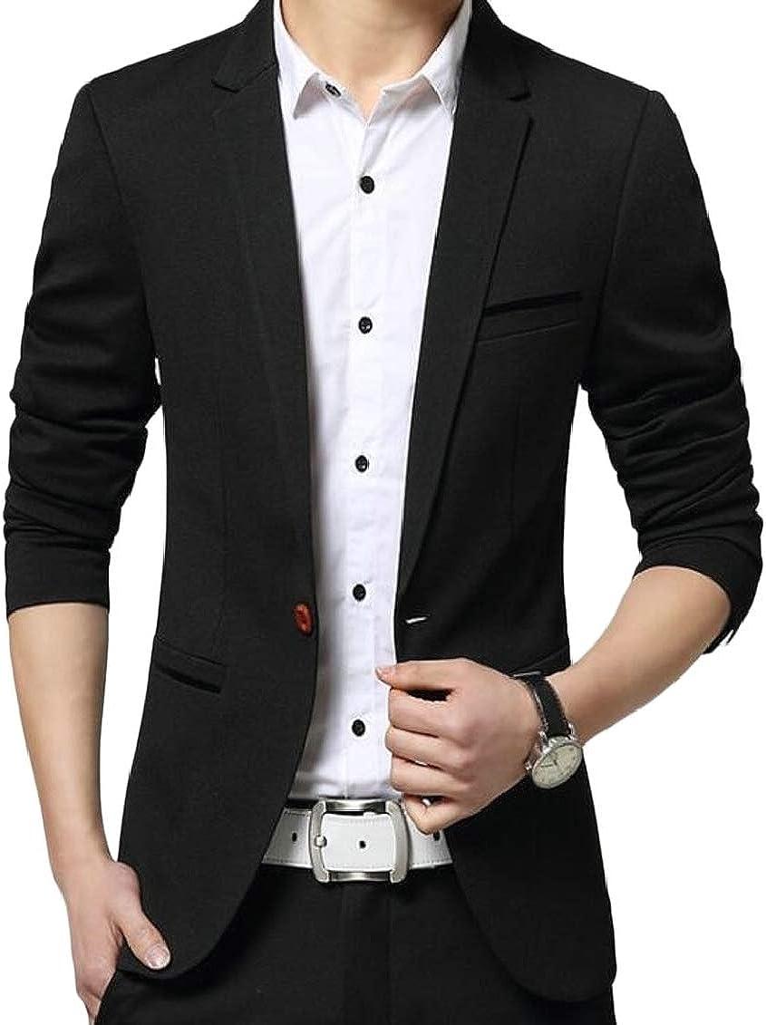 SHOWNO Mens Basic Business One Button Wedding Pockets Blazer Jackets