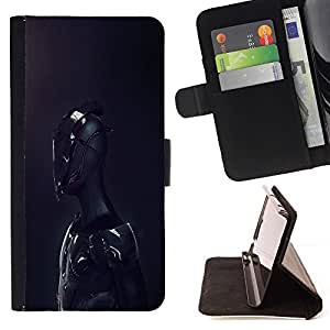 BETTY - FOR Samsung Galaxy S4 IV I9500 - Black Android Sci Fi Robot - Style PU Leather Case Wallet Flip Stand Flap Closure Cover