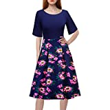 Swing Dress,Women's Vintage Floral Printed Patchwork A-line Cocktail Party Dress (Navy, L)