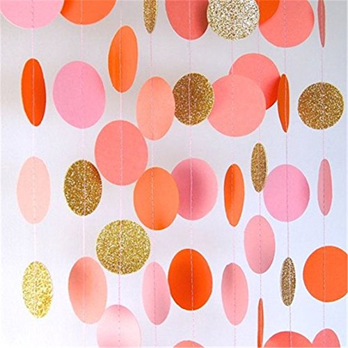 Hangnuo 16.4ft Colorful Dot Paper Garland For Wedding Birthday Anniversary Party Christmas Girls Background Decoration Pink+Orange+Gold Small