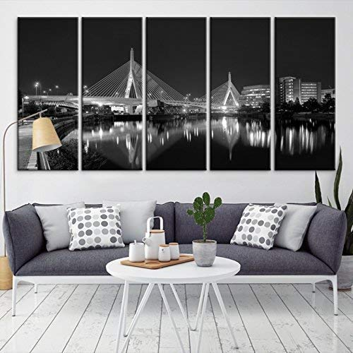 Amazon.com: Large Wall Art Grayscale Boston Skyline Canvas Print for ...