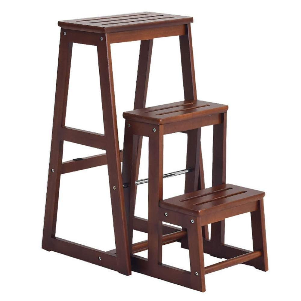 3 steps XITER Folding Ladder Stools Stairs Multifunction Kitchen Footstool Save Space Rubber Wood (Size   2 Steps)