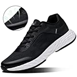 ONEMIX Lightweight Athletic Running Shoes Men Sports Cushioning Sneakers for Training Black White 10
