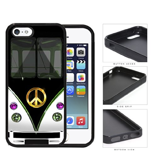 Hippy Mini Van with Peace Sign in Center Series Hard Rubber Cell Phone Case Cover iPhone i5 5s (black)