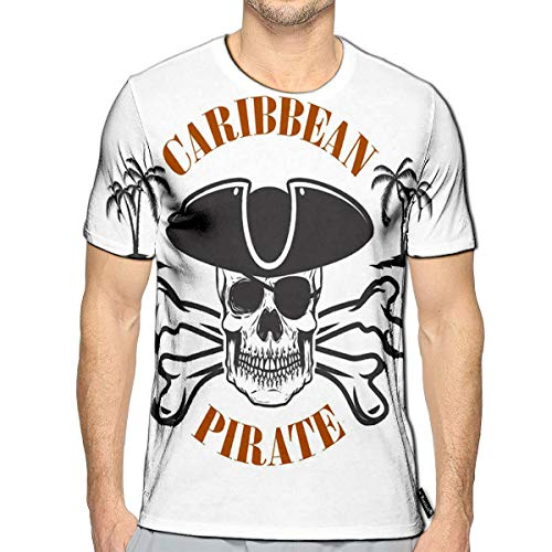 3D Printed T-Shirts Caribbean Pirate Emblem with Corsair Skull and Crossbones De