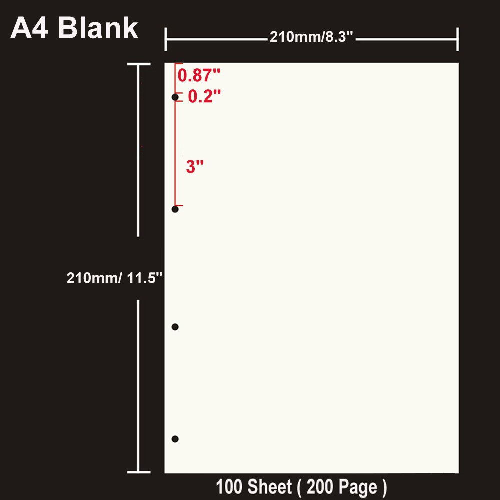 200 Page Blank Paper A4 Refill Paper 4 Hole Punched Filler Paper Refills for A4 Loose Leaf Notebook Travel Journal Personal Diary Planner Binder Scrapbook 100 Sheet 8.3 Inches x 11.5 Inches