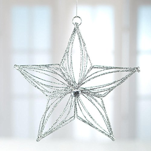 Glittered Star Ornament - Factory Direct Craft Silver Glittered Metal Star Ornaments 4 Ornaments