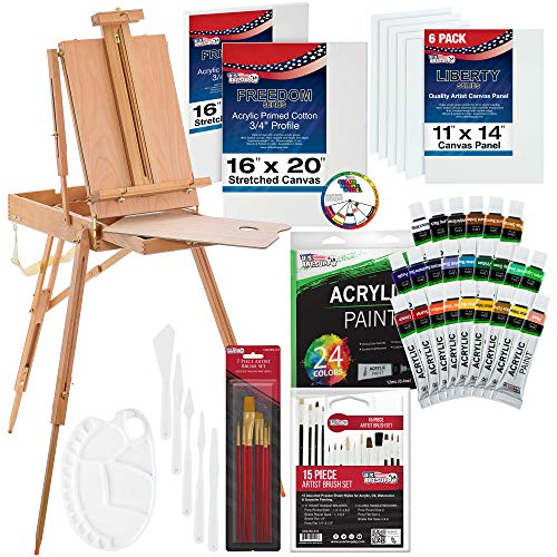 U.S. Art Supply 62 Piece Acrylic Painting Kit with Coronado French Easel, Acrylic Paint, 16″x20″ Stretched Canvases, 11″x14″ Canvas Panels, Nylon Paint Brushes, Multipurpose Paint Brushes and More