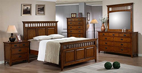 Sunset Trading SS-TR900-K-BED-SET Tremont Bedroom Set, King, Warm Chestnut with Satin Gloss Finish