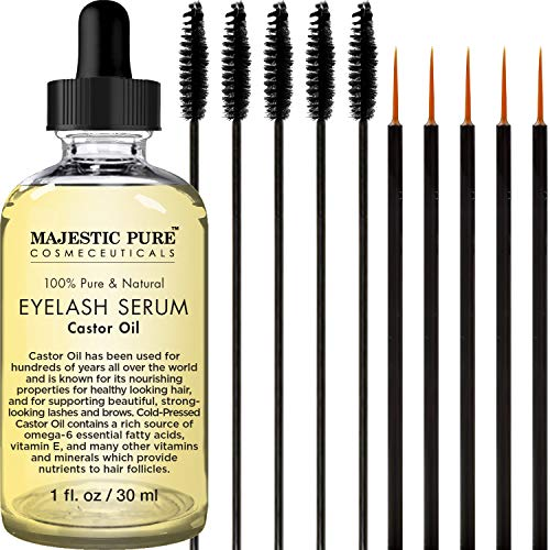 Essential Lash Eyelash Conditioner - Majestic Pure Castor Oil Eyelash Serum, Promotes Natural Eyebrows & Eyelash Growth, Pure and Natural, Free Set of Mascara Brush and Eyeliner Applicator - 1 fl oz