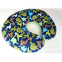Minky Nursing Pillow Cover. Dinosaur Print Cuddle. You choose the Dimple Dot back. Back is pictured in Jade Dimple Dot.