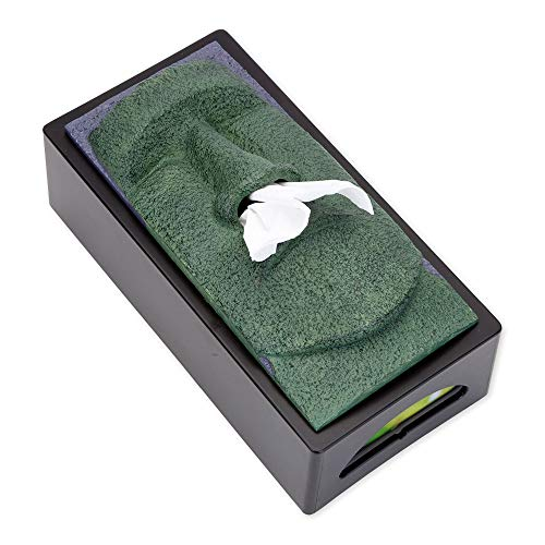 (Bits and Pieces-Tissue Box Cover Stone Face Tissue Holder - Great gag gift for your office, desk, or living room)
