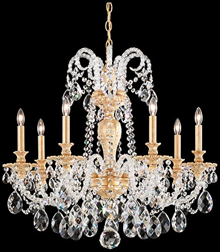 Schonbek 6307-48SH Swarovski Lighting Isabelle Chandelier, Antique Silver