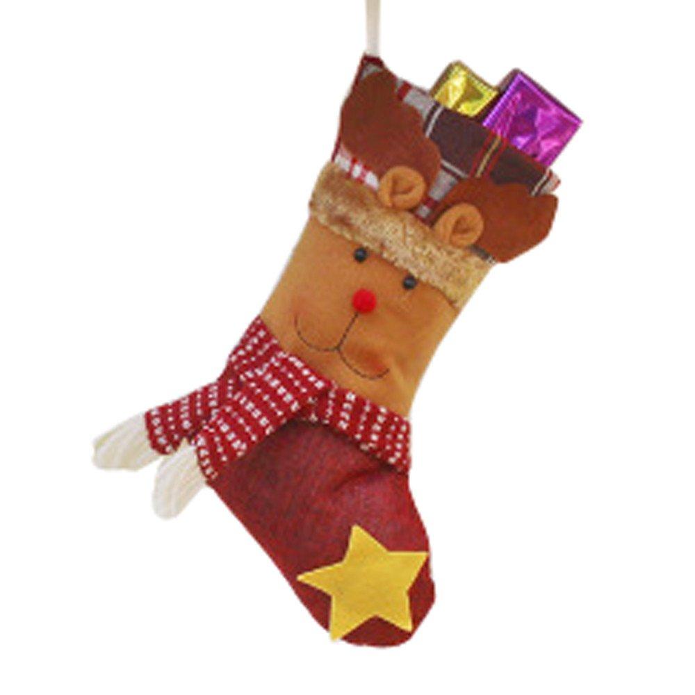 Santa Claus Christmas Stocking Candy Socks Bag Christmas Decor Party Decorations (C)