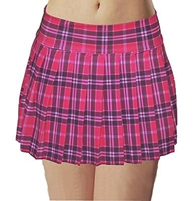 Schoolgirl Tartan Plaid Pleated Mini Skirt Hot Pink Stretch