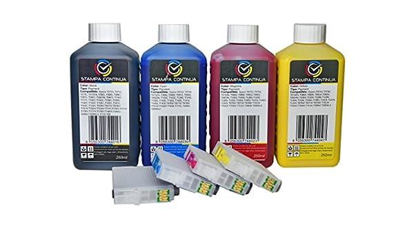 Cartuchos recargables Epson T0711 T0714/+ 4 x 250ml (tinta de ...