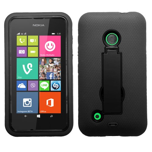 (Asmyna Symbiosis Stand Protector Cover for Nokia Lumia 530 - Retail Packaging - Black/Black)