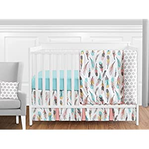 Sweet Jojo Designs 11-Piece Feather Baby Girls Crib Bedding Set Without Bumper