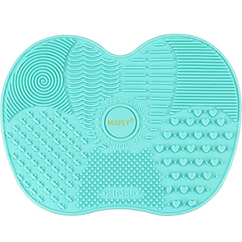 Silicone Makeup Brush Cleaning Mat, Makeup Brush Cleaner,Makeup Brush Cleaner Pad,Cosmetic Brush Cleaning Mat Portable Washing Tool Scrubber with Suction Cup (Mint Green) (Best Way To Wash Makeup Brushes)