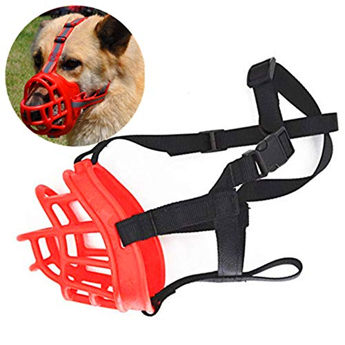 JWPC Adjustable Anti-Biting Dog Soft Silica Gel Muzzle, Breathable Safety Pet Puppy Muzzles Mask for Biting/Barking/Chewing,Red 3