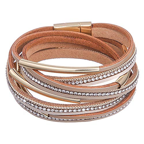 Womens Leather Boho Wrap Saachi Stacking Bracelets,Cuff Wrap Boho Multilayer Wide Crystal Metal Around Gold Wrist Magnetic Clasp Buckle Casual Bangle Bracelets for Teen Girls,Women,Boy Gift ()