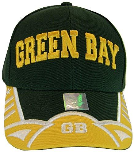 Green Bay GB Men's Stars & Stripes Adjustable Baseball Cap (Green/Gold) ()