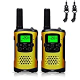 FAYOGOO Kids Walkie Talkies, 22-Channel FRS/GMRS Radio, 4-Mile Range Two Way Radios with Flashlight and LCD Screen. 2 Pack, Yellow