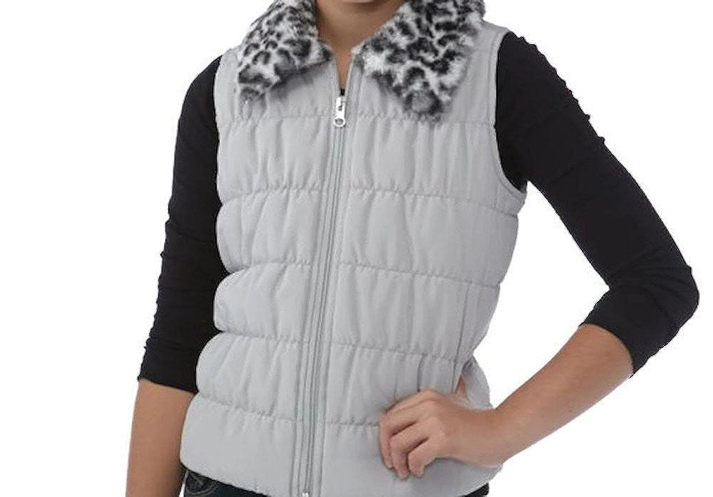 J Khaki Faux Fur Collar Puffer Vest Girls Leopard)