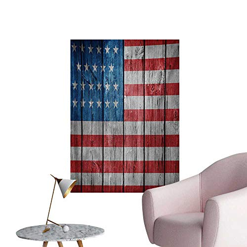 - zhaoxuefa USA Wallpaper Fourth of July Independence Day Retro Worn Wooden Looking Democracy SymbolBlue Red Pale Grey W32 xL48 The Office Poster