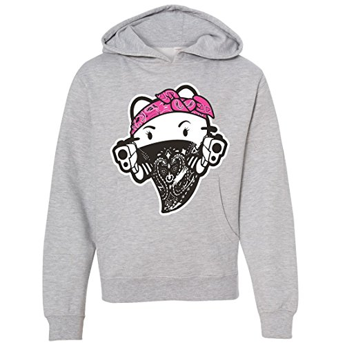 Hello Kitty Gangster Thug Youth Sweatshirt Hoodie - Grey Heather Medium (Hello Kitty Gangster)
