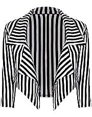 Loxdonz Women's ¾ Sleeves Stripes Print Open Front Waterfall Crop Blazer Jacket Coat