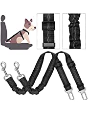 Dog Car Seat Belt, SlowTon 2 Pack Pet Car Safety Seatbelt Harness Vehicle Adjustable Resistant Lead Leash with Elastic Nylon Bungee Buffer, Reflective Stitching, adjustable 20.87- 29.13 inches for Travel