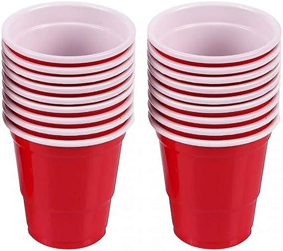 40 mini vasos desechables de plástico para chupito, Jello Shots, Jager Bomb, Beer Pong, tamaño perfecto para servir condimentos, aperitivos, muestras y sabores – 2 oz rojo: Amazon.es: Amazon.es