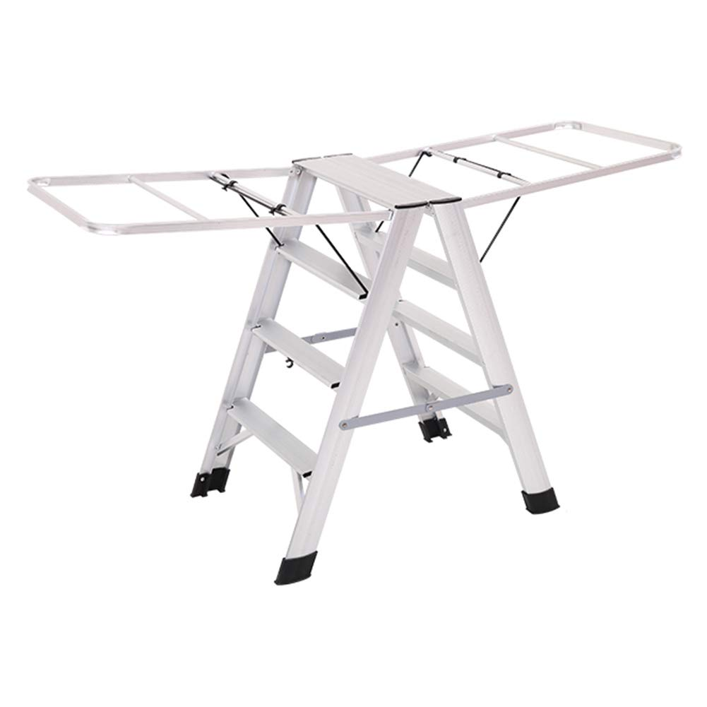 Silver Four steps Ladder  Stool Step  Stool  Ladder Folding  Chair Step  Ladder Safety  Step  Stool Multi-Function Folding Household Aluminum Floor Drying Rack ZHANGQIANG (color   Silver, Size   Four Steps)