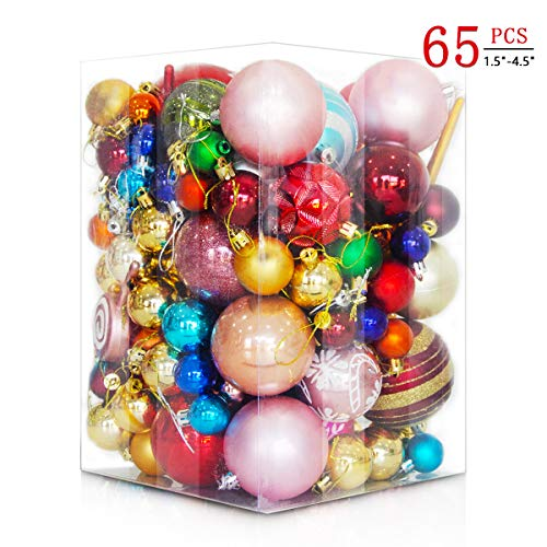BUZIO Christmas Ball Ornaments, Shatterproof Xmas Tree Decoration (65 Pcs, 30 Styles, 7 Sizes) Perfect Hanging Ball for Holiday Wedding Party (1.5