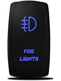 MicTuning LS081602JL, Backlit Fog Lights Rocker Switch Kit, On/Off LED Light, 20A 12V Toggle, Blue