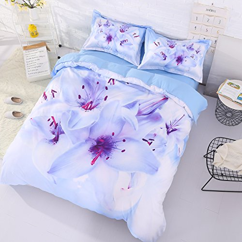 Beddinginn 4Pcs 3d Tencel Cotton Blend White Flower Bedding Sets Duvet Cover Set.1 Duvet Cover+2 Pillowcase+1 Flat Sheet.No Comforter Included(King Size - Sheet Flowers 1