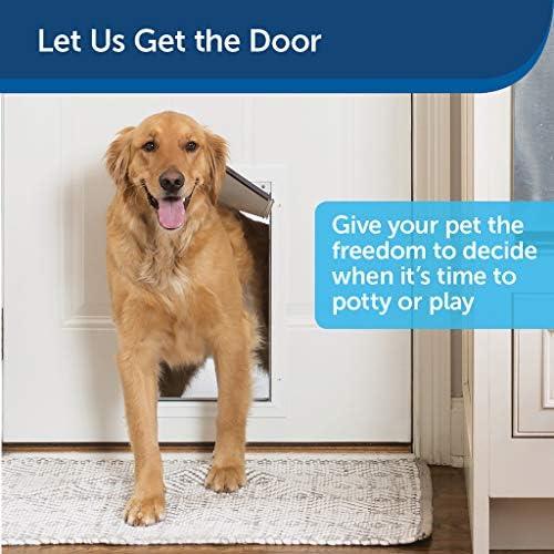 PetSafe Freedom Puerta de aluminio para mascotas para perros y gatos, color blanco, solapa de vinilo tintado, Blanco, Mediano 3