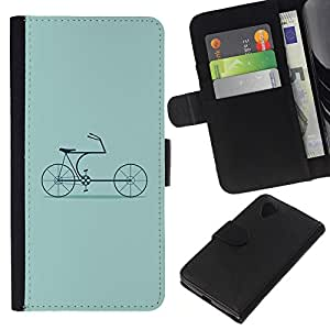 KLONGSHOP // Tirón de la caja Cartera de cuero con ranuras para tarjetas - Bicicleta Verde Hipster Cultura Antiguo - LG Nexus 5 D820 D821 //