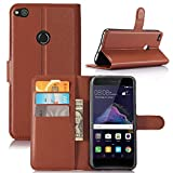 Ziaon(TM) Super Series 100% Faux Leather Flip Stand Wallet Case For Huawei P9 Lite 2017 - Mangnetic Lock- Brorwn