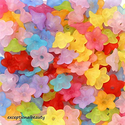 150 Assorted 10x4mm Frosted Lucite Scalloped Tulip Cone Lily Flower Mix Beads ()